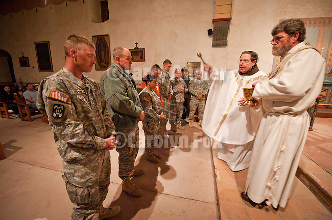 Honoring and blessing of the Military Service members during Easter Eve Vigil Service, Mission San Antonio de Padua, California.