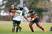 Tuise Toai-Key makes a run towards Howard Sililoto. Counties Manukau Club Rugby game between Manurewa and Bombay played at Mountfort Park Manurewa on Saturday June 2nd 2018. Bombay won the game 27 - 20 after leading 20 - 5 at halftime. <br /> Manurewa Kidd Contracting 20 - Caleb Fa'alili, William Raea, Willie Tuala, Viliami Taulani tries.<br /> Bombay 27 - Liam Daniela, Sepuloni Taufa, Talaga Alofipo tries, Ki Anufe 3 conversions, Ki Anufe 2 penalties.<br /> Photo by Richard Spranger.