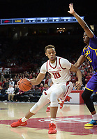 NWA Democrat-Gazette/ANDY SHUPE<br /> Arkansas forward Daniel Gafford (10) attempts a shot in the lane as he is pressured by LSU forward Kavell Bigby-Williams Friday, Jan. 11, 2019, during the first half of play in Bud Walton Arena in Fayetteville. Visit nwadg.com/photos to see more photographs from the game.