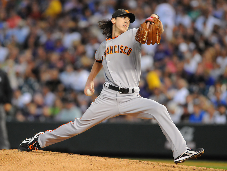 24 SEPTEMBER 2010: San Francisco Giants starting pitcher Tim Lincecum (55) during a regular season game between the San Francisco Giants  and the Colorado Rockies at Coors Field in Denver, Colorado.   *****For Editorial Use Only*****