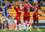 22.09.2019 St Johnstone v Rangers: Jermain Defoe celebrates with Borna Barisic