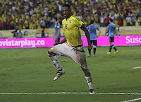 BARRANQUILLA -COLOMBIA, 11-OCTUBRE-2016. Yerry Mina  jugador de Colombia celebra su gol contra Uruguay durante el  encuentro  por las eliminatorias al mundial de Rusia 2018  disputado en el estadio Metropolitano Roberto Meléndez de Barranquilla./ Yerry Mina   Colombia player celebrates his goal against of Uruguay during the qualifying match for the 2018 World Championship in Russia Metropolitano Roberto Melendez stadium in Barranquilla . Photo:VizzorImage / Felipe Caicedo  / Staff