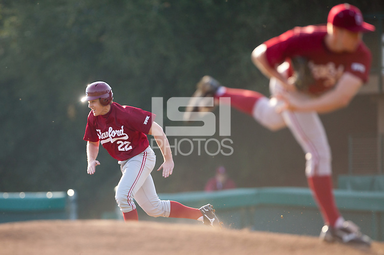 STANFORD, CA - February 11, 2011: Brian Guymon of the Stanford baseball team steals during a Friday scrimmage at Sunken Diamond.