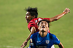 SC Kitchee Defender Bong Jin Kim (R) in action against Chi Yung Cheung of Pegasus (L) during the week three Premier League match between Hong Kong Pegasus and Kitchee at Hong Kong Stadium on September 17, 2017 in Hong Kong, China. Photo by Marcio Rodrigo Machado / Power Sport Images