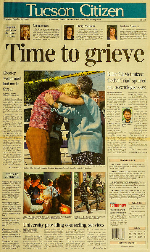 This is the Tucson Citizen front page for October 29, 2002, when the UA nursing school was attacked by a gunman, killing three people.
