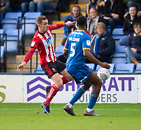 Lincoln City's Harry Toffolo vies for possession with Shrewsbury Town's Ro-Shaun Williams<br /> <br /> Photographer Andrew Vaughan/CameraSport<br /> <br /> The EFL Sky Bet League One - Shrewsbury Town v Lincoln City - Saturday 11th January 2020 - New Meadow - Shrewsbury<br /> <br /> World Copyright © 2020 CameraSport. All rights reserved. 43 Linden Ave. Countesthorpe. Leicester. England. LE8 5PG - Tel: +44 (0) 116 277 4147 - admin@camerasport.com - www.camerasport.com
