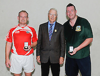 20th September 2014; <br /> Dale Cusack (Cork), GAA Handball President Willie Roche and Conor O'Connor (meath).<br /> M Donnelly All-Ireland Mens Over-35 60x30 Handball Singes Final<br /> Dale Cusack (Cork) v Conor O'Connor (Meath)<br /> Abbeylara, Co Longford<br /> Picture credit: Tommy Grealy/actionshots.ie
