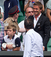 David Beckham watching Andy Murray (GBR) (4)  against Rafael Nadal (ESP) (2) in the Semi-Finals of the gentlemen's singles.  Rafael Nadal beat Andy Murray 6-4 7-6 6-4..Tennis - Wimbledon Lawn Tennis Championships - Day 11 Fri 2nd July 2010 -  All England Lawn Tennis and Croquet Club - Wimbledon - London - England..© FREY - AMN IMAGES  Level 1, Barry House, 20-22 Worple Road, London, SW19 4DH.TEL - +44 (0) 20 8947 0100.Email - mfrey@advantagemedianet.com.www.advantagemedianet.com