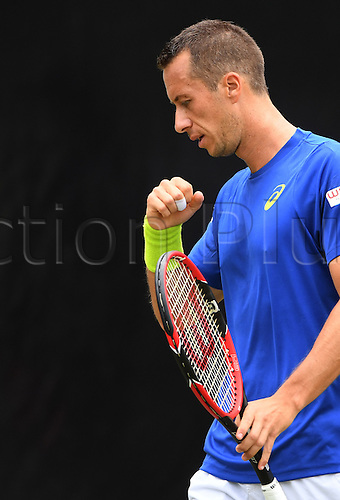 08.06.2016. Stuttgart, Germany.  Germany's Philipp Kohlschreiber reacts during his second round match against Denis Kudla of the USA at the ATP tennis tournament in Stuttgart, Germany, 08 June 2016.