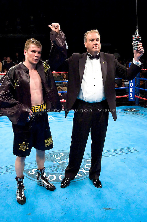 Yuri Foreman (black and gold) in  the ring after his Junior Middleweight Fight against Kevin Cagle at the Foxwoods Resort Casino in Mashantucket, CT, on 05.06.2005..Foreman won by unanimous decision.