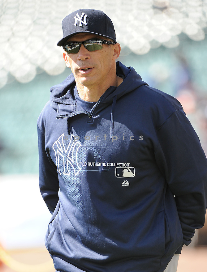 New York Yankees Joe Girardi (28) during a game against the Detroit Tigers on April 5, 2013 at Comerica Park in Detroit, MI. The Tigers beat the Yankees 8-3.