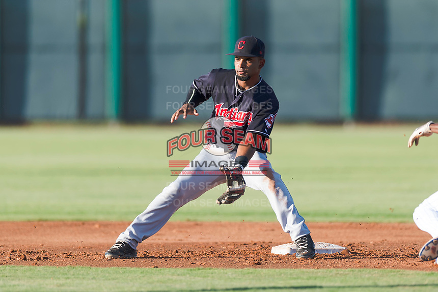 AZL Indians 1 second baseman Wilbis Santiago (2) waits to receive a throw on a stolen base attempt by Edmond Americaan (22) during an Arizona League game against the AZL Cubs 1 at Sloan Park on August 27, 2018 in Mesa, Arizona. The AZL Cubs 1 defeated the AZL Indians 1 by a score of 3-2. (Zachary Lucy/Four Seam Images)
