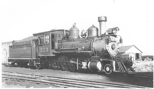 3/4 engineer's-side view of D&amp;RGW #223 at Gunnison.<br /> D&amp;RGW  Gunnison, CO  7/7/1940
