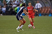 Portland, OR - Saturday July 22, 2017: Caprice Dydasco, Hayley Raso during a regular season National Women's Soccer League (NWSL) match between the Portland Thorns FC and the Washington Spirit at Providence Park.