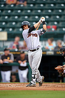 Jupiter Hammerheads catcher Chris Hoo (18) takes a warmup swing during a game against the Bradenton Marauders on May 25, 2018 at LECOM Park in Bradenton, Florida.  Jupiter defeated Bradenton 3-2.  (Mike Janes/Four Seam Images)