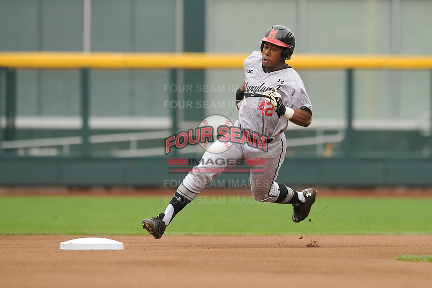 Maryland Terrapins Marty Costes (42) rounds second base during the Big Ten Tournament game against the Indiana Hoosiers at TD Ameritrade Park on May 25, 2016 in Omaha, Nebraska.  Maryland  won 5-3.  (Dennis Hubbard/Four Seam Images)