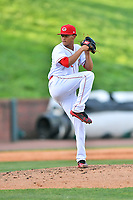 Greenville Reds starting pitcher Jose Salvador (32) delivers a pitch during a game against the Elizabethton Twins at Pioneer Park on June 29, 2019 in Greeneville, Tennessee. The Twins defeated the Reds 8-1. (Tony Farlow/Four Seam Images)