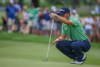 Justin Thomas (USA) lines up his par putt on 1 during 4th round of the World Golf Championships - Bridgestone Invitational, at the Firestone Country Club, Akron, Ohio. 8/5/2018.<br /> Picture: Golffile | Ken Murray<br /> <br /> <br /> All photo usage must carry mandatory copyright credit (© Golffile | Ken Murray)