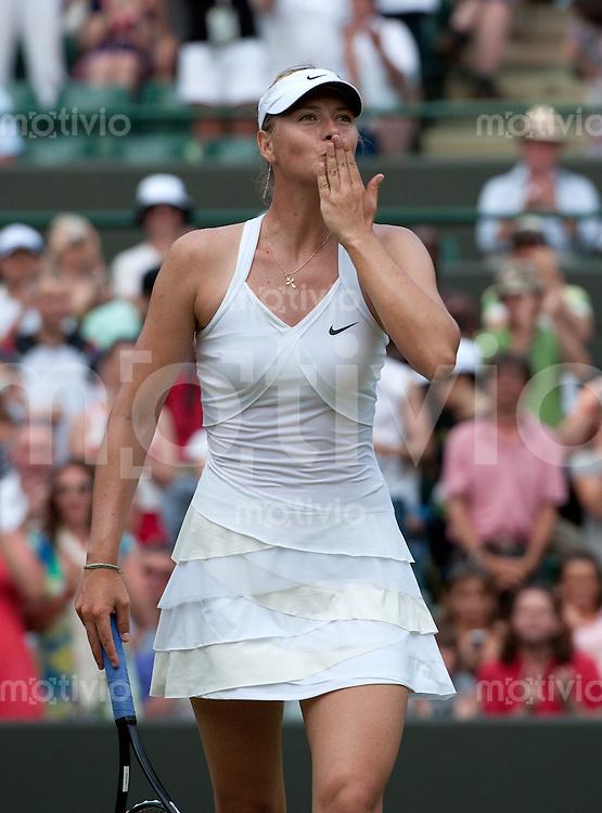 Maria Sharapova (RUS) plays against Barbora Zahlavova Strycova (CZE) on Court 1. The Wimbledon Championships 2010 The All England Lawn Tennis & Croquet Club  Day 6 Saturday 26/06/2010