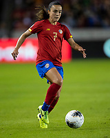 HOUSTON, TX - FEBRUARY 03: Melissa Herrera #7 of Costa Rica attacks with the ball during a game between Costa Rica and USWNT at BBVA Stadium on February 03, 2020 in Houston, Texas.