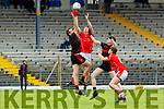 Roibeard O Sé West Kerry and David Hallissey Kenmare contest the kick out with Griffin Wharton and Eanna O'Connor waiting for  outcome during their SFC clash in Fitzgerald Stadium on Sunday