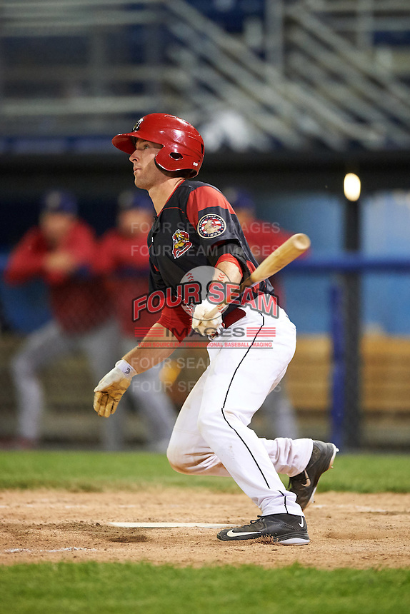 Batavia Muckdogs catcher David Gauntt (46) at bat during a game against the State College Spikes on June 22, 2016 at Dwyer Stadium in Batavia, New York.  State College defeated Batavia 11-1.  (Mike Janes/Four Seam Images)