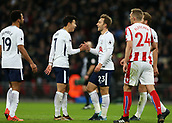9th December 2017, Wembley Stadium, London England; EPL Premier League football, Tottenham Hotspur versus Stoke City; Christian Eriksen of Tottenham Hotspur celebrates with Son Heung-Min after scoring his sides 5th goal in the 74th minute to make it 5-0