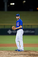 AZL Cubs relief pitcher Nathan Sweeney (47) prepares to deliver a pitch during a game against the AZL Brewers on August 6, 2017 at Sloan Park in Mesa, Arizona. AZL Cubs defeated the AZL Brewers 8-7. (Zachary Lucy/Four Seam Images)