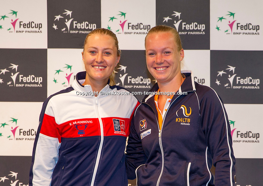Arena Loire,  Trélazé,  France, 14 April, 2016, Semifinal FedCup, France-Netherlands, Draw,  French Kristina Mladenovic and Dutch Kiki Bertens (R) first match sunday<br /> Photo: Henk Koster/Tennisimages