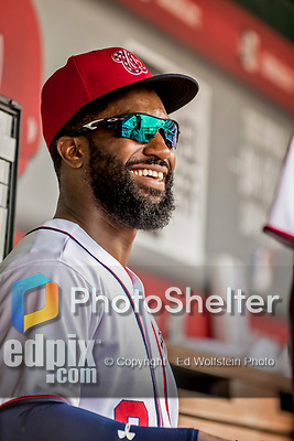8 July 2017: Washington Nationals outfielder Brian Goodwin awaits the start of play prior to a game against the Atlanta Braves at Nationals Park in Washington, DC. The Braves shut out the Nationals 13-0 to take the third game of their 4-game series. Mandatory Credit: Ed Wolfstein Photo *** RAW (NEF) Image File Available ***