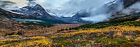 Fall landscape of tundra and willows with snow covered Chugach Mountains and Powerline Pass in Glen Alps area of Anchorage.  Chugach State Park  Southcentral, Alaska