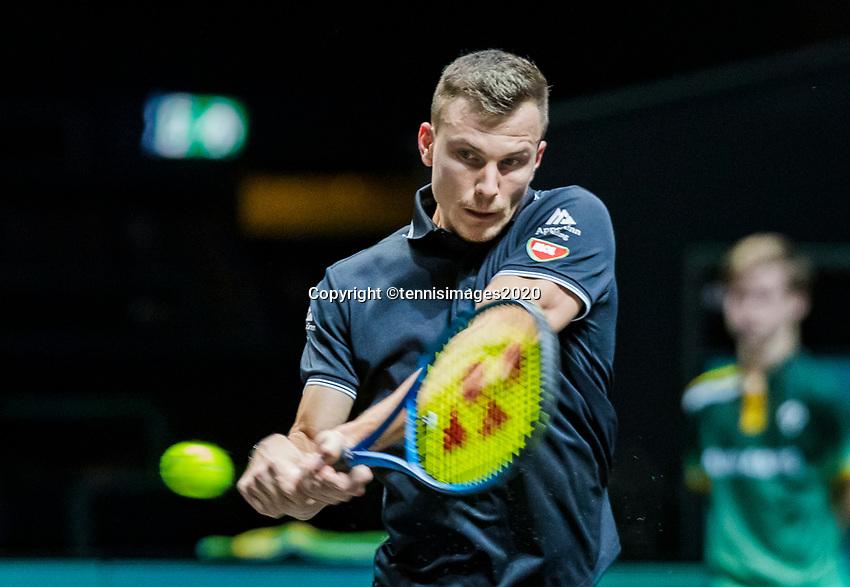 Rotterdam, The Netherlands, 10 Februari 2020, ABNAMRO World Tennis Tournament, Ahoy,  Marton Fucsovics (HON). <br /> Photo: www.tennisimages.com