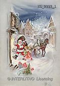 Interlitho, CHRISTMAS SANTA, SNOWMAN, nostalgic, paintings, santa, coach, girl(KL2337/1,#X#) Weihnachten, nostalgisch, Navidad, nostálgico, illustrations, pinturas