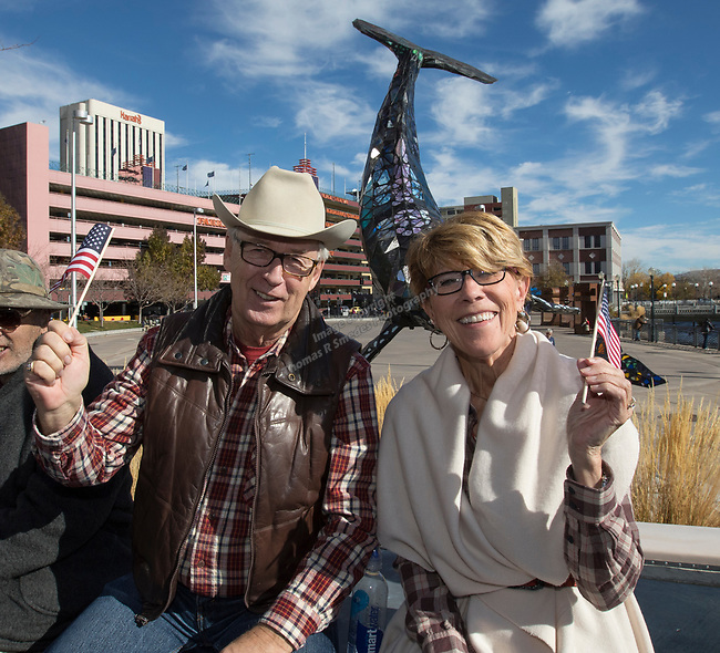 Mary and David Kusiek during the Veterans Day Parade in downtown Reno on Saturday, Nov. 11, 2017.