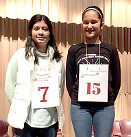 Photo submitted<br /> The Siloam Springs Middle School held a school-wide spelling bee on Thursday, Dec. 6. Alisha Kahloon, left, placed first, and Abbie Hutto, was runner up. Kahloon will represent the Middle School at the Benton County Spelling Bee on Saturday, Jan. 12.