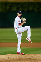 Peoria Chiefs relief pitcher Brady Bowen (13) delivers a pitch during a game against the West Michigan Whitecaps on May 9, 2017 at Dozer Park in Peoria, Illinois.  Peoria defeated West Michigan 3-1.  (Mike Janes/Four Seam Images)