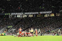 General view of a scrum during the Aviva Premiership match between Harlequins and Saracens at Twickenham on Tuesday 27 December 2011 (Photo by Rob Munro)