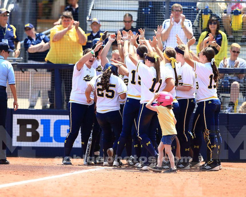 The University of Michigan softball team shut out Cal, 5-0, in NCAA Regional semifinal at the Wilpon Softball Complex in Ann Arbor, Mich., on May 18, 2013.