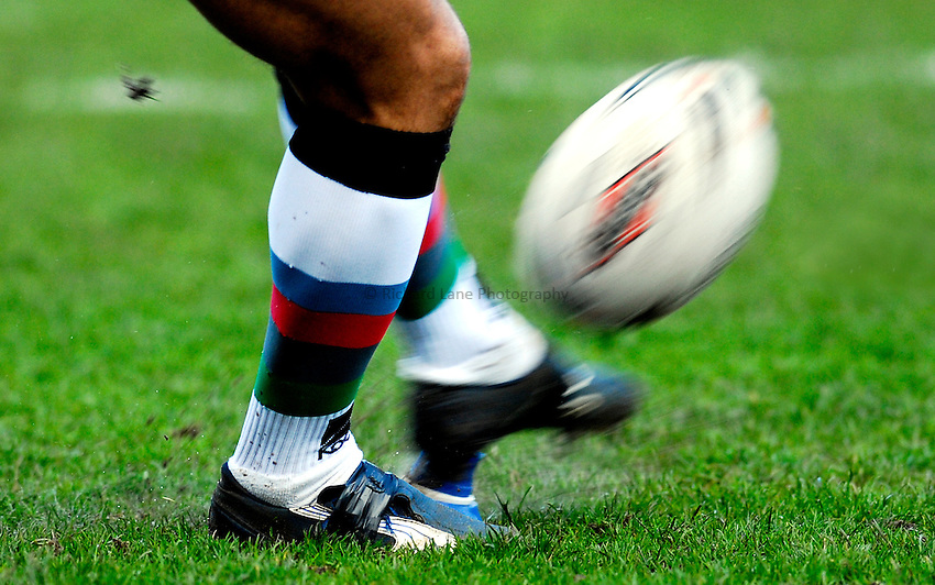 Photo: Alan Crowhurst..Harlequins RL v Warrington Wolves. Engage Super League. 03/03/2007. Rugby ball being kicked, generic.