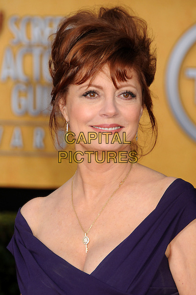 SUSAN SARANDON.17th Annual Screen Actors Guild Awards held at The Shrine Auditorium, Los Angeles, California, USA..January 30th, 2011.SAG arrivals headshot portrait purple off the shoulder hair up.CAP/ADM/BP.©Byron Purvis/AdMedia/Capital Pictures.
