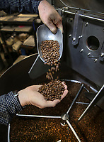 March 20, 2019. San Diego, CA. USA|  Owner of Bird Rock Coffee Roasters Jeff Taylor shows off some of his roasted coffee beans. | Photos by Jamie Scott Lytle. Copyright.