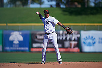 Scottsdale Scorpions shortstop Thairo Estrada (99), of the New York Yankees organization, during an Arizona Fall League game against the Surprise Saguaros on October 27, 2017 at Scottsdale Stadium in Scottsdale, Arizona. The Scorpions defeated the Saguaros 6-5. (Zachary Lucy/Four Seam Images)