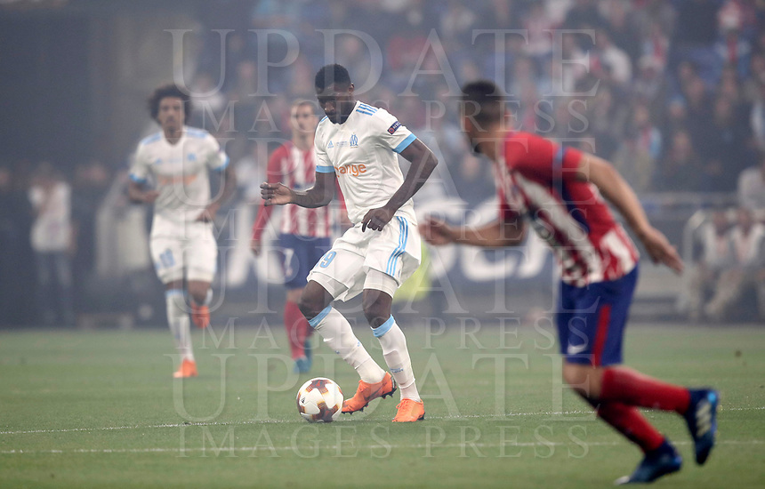 Olympique de Marseille's Andre Zambo Anguissa in action during the UEFA Europa League final football match between Olympique de Marseille and Club Atletico de Madrid at the Groupama Stadium in Decines-Charpieu, near Lyon, France, May 16, 2018.<br /> UPDATE IMAGES PRESS/Isabella Bonotto