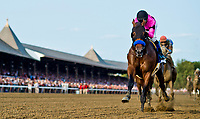 SARATOGA SPRINGS, NY - AUGUST 26: West Coast #3, with Mike Smith wins the Travers Stakes on Travers Stakes Day at Saratoga Race Course on August 26, 2017 in Saratoga Springs, New York. (Photo by Alex Evers/Eclipse Sportswire/Getty Images)