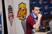 FC Kansas City head coach Vlatko Andonovski waits for the beginning of the NWSL draft at the Pennsylvania Convention Center in Philadelphia, PA, on January 17, 2014.