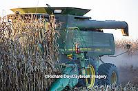 63801-06704 John Deere combine harvesting corn, Marion Co., IL