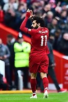 Liverpool's Mohamed Salah applauds the fans as he is substituted<br /> <br /> Photographer Richard Martin-Roberts/CameraSport<br /> <br /> The Premier League - Liverpool v Chelsea - Sunday 14th April 2019 - Anfield - Liverpool<br /> <br /> World Copyright © 2019 CameraSport. All rights reserved. 43 Linden Ave. Countesthorpe. Leicester. England. LE8 5PG - Tel: +44 (0) 116 277 4147 - admin@camerasport.com - www.camerasport.com