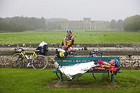 Cyclists Resting During Paris Brest Paris Endurance Event - France