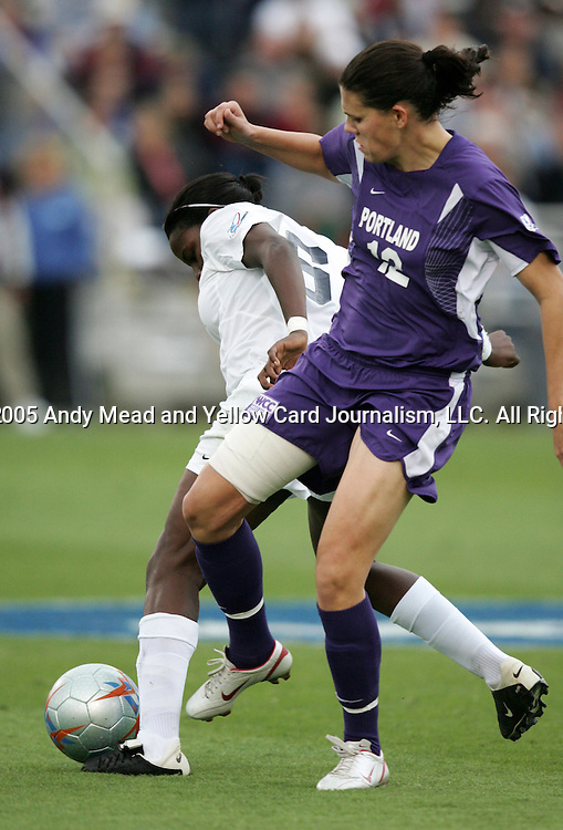 2 December 2005: Portland's Christine Sinclair (12) battles with PSU's Natalie Jacobs (6). The University of Portland Pilots defeated the Penn State Nittany Lions 4-3 on penalty kicks after the teams played to a 0-0 overtime tie in their NCAA Division I Women's College Cup semifinal at Aggie Soccer Stadium in College Station, TX.