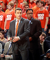 Virginia head coach Tony Bennett and associate head coach Ritchie McKay during an NCAA basketball game Saturday Feb. 7, 2015, in Charlottesville, Va. Virginia defeated Louisville  52-47. (Photo/Andrew Shurtleff)